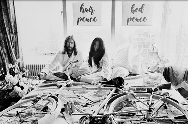 lennon ono in bed with poster mutilated using glorydays font