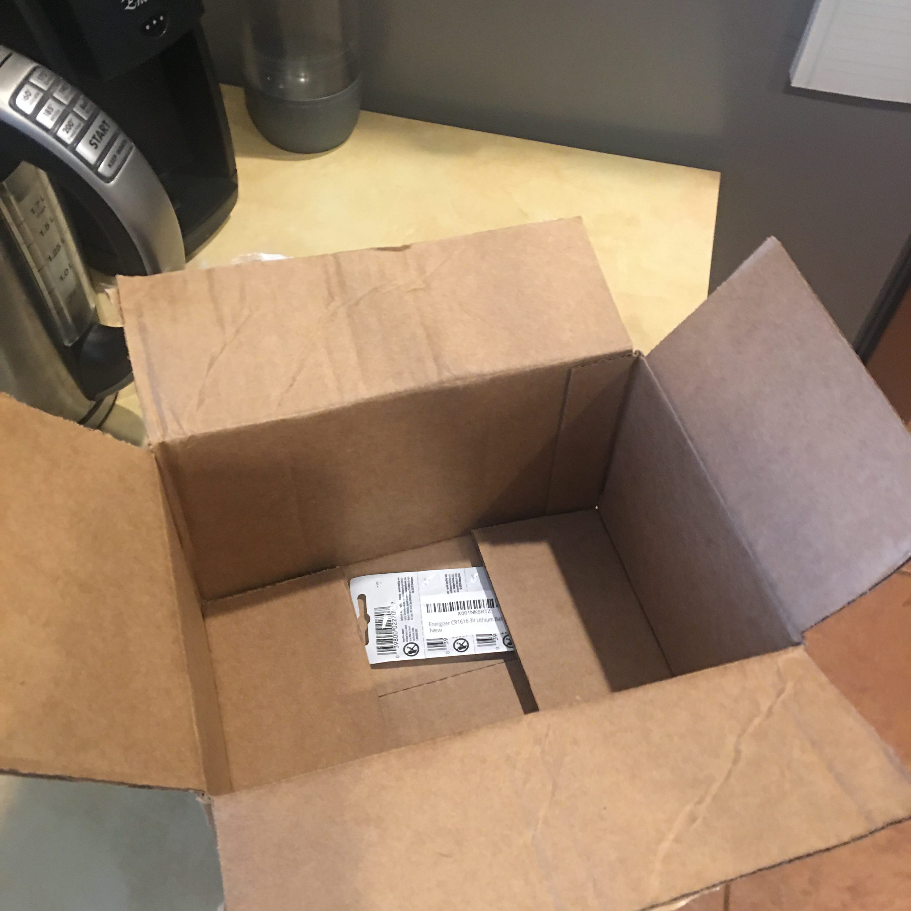 a big box with a tiny sleeve of coin-cell batteries in it