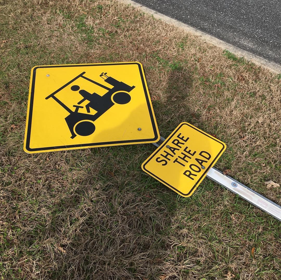 street sign on ground