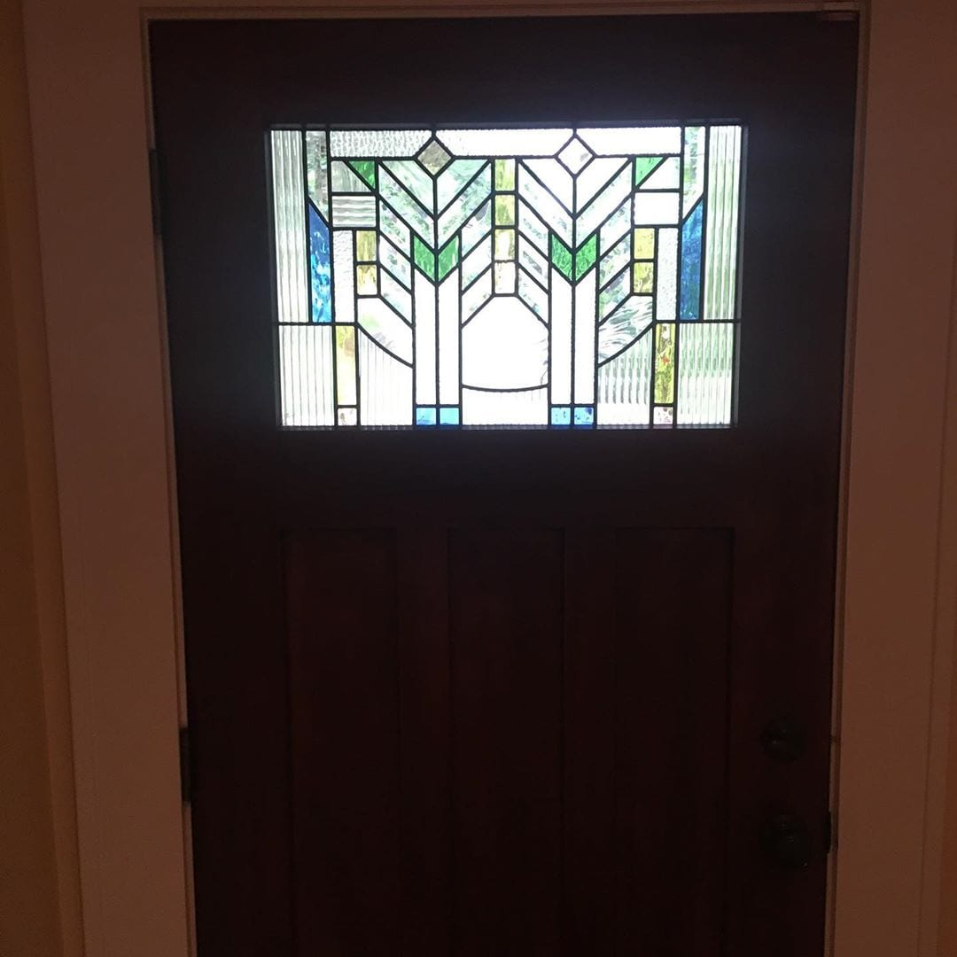 a frank lloyd wright-inspired front door