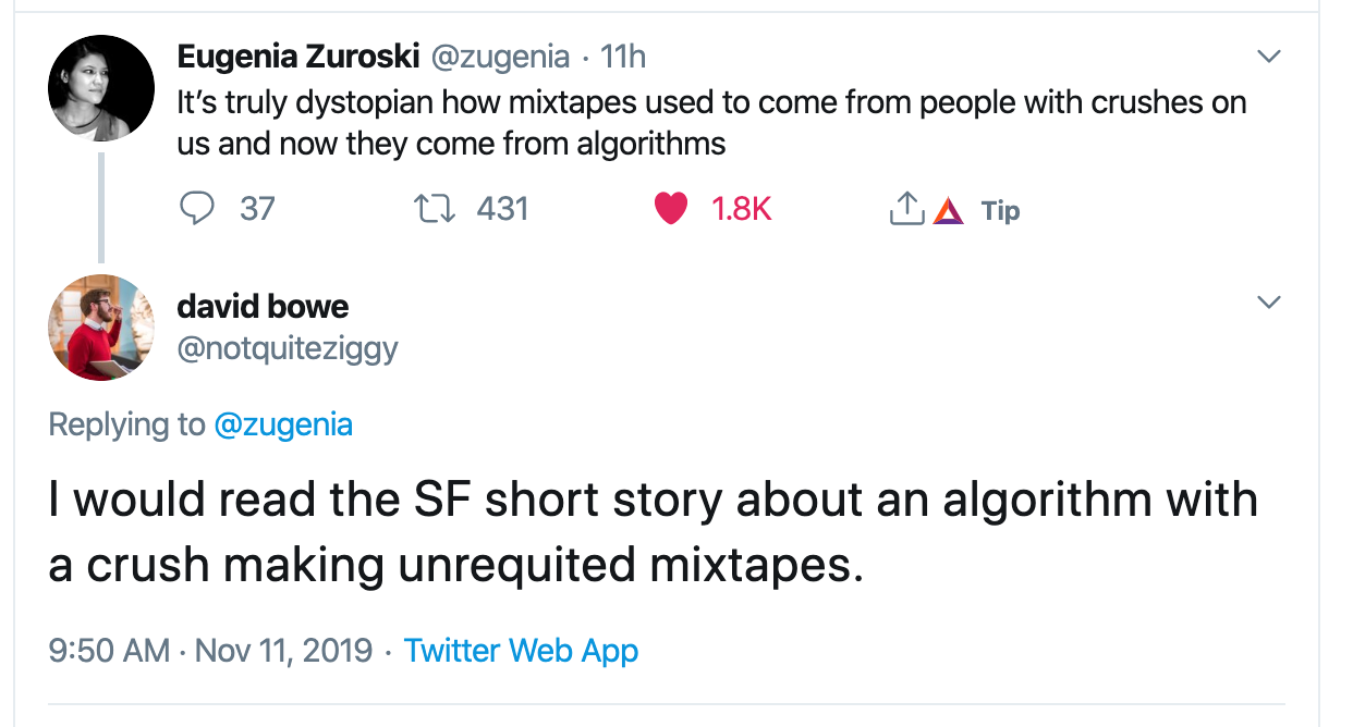 screenshot of twitter convo regarding lovelorn AI sending mixtapes