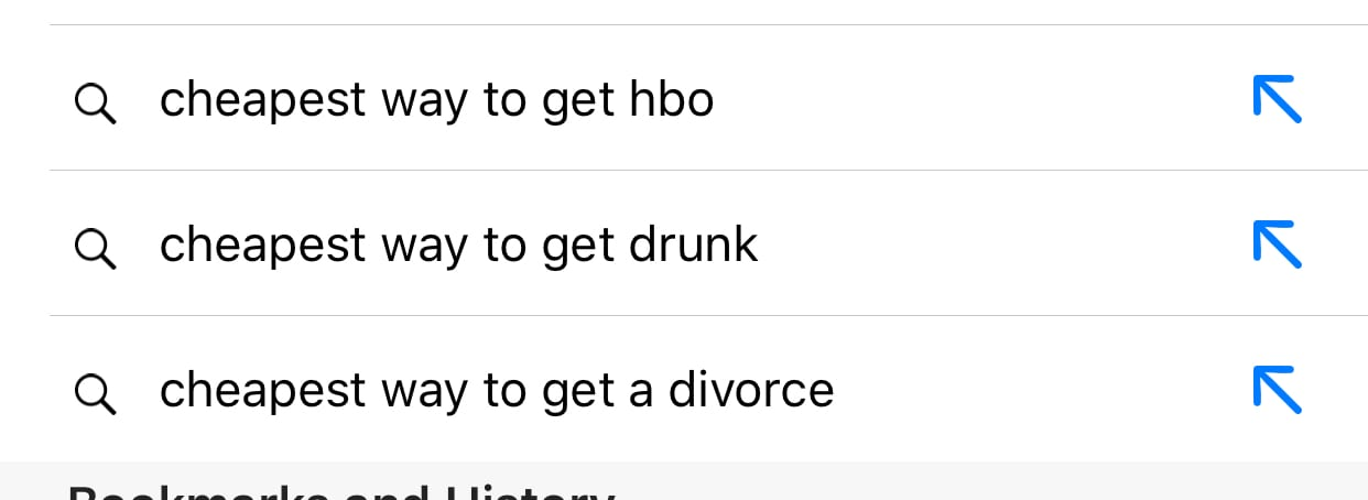screenshot of google search for 'cheapest way to get'
