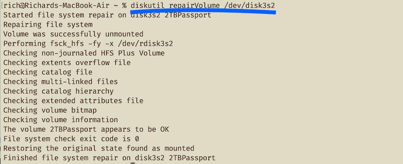 screenshot of diskutil repairVolume command