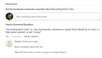 screenshot of nerd correcting a technical mistake about a product listing in the book