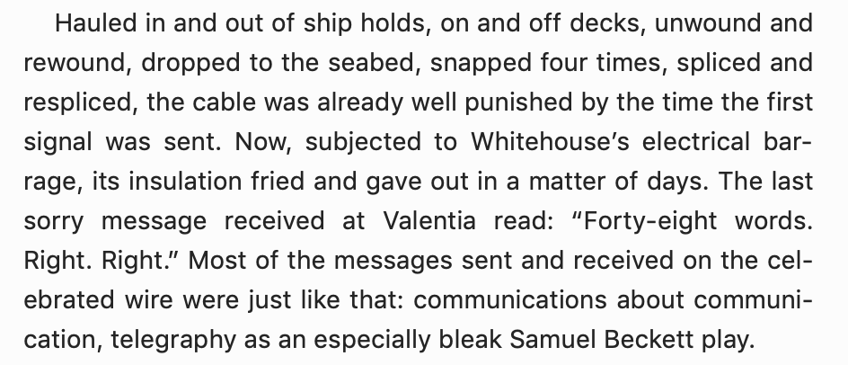 book excerpt comparing early undersea cable communication to a samuel beckett play