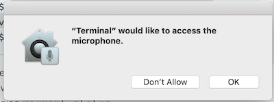 "OS window alert reading ""Terminal would like access to Microphone"""