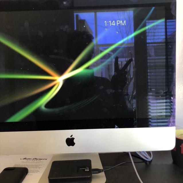 yard reflected in iMac screen