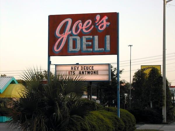 a restaurant sign