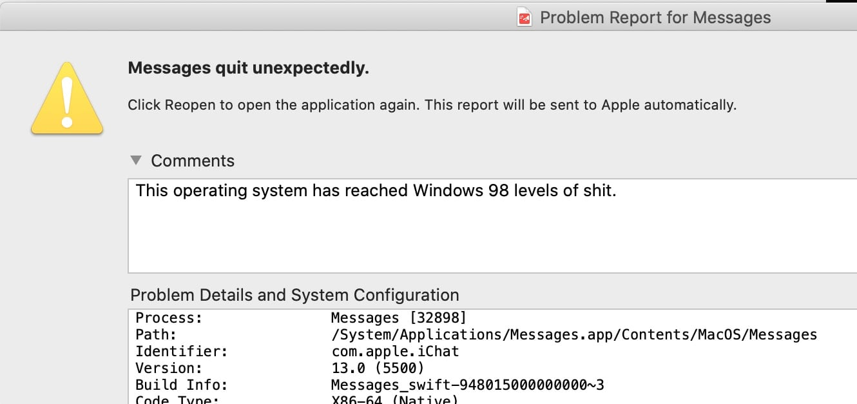 screenshot of failing app