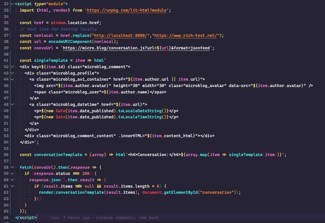 screenshot of script code
