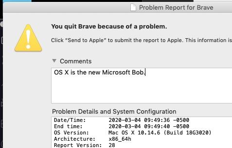 screen shot of app crash