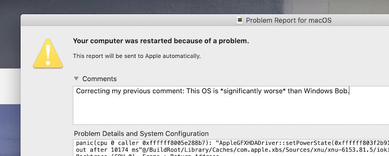 screenshot of crash report