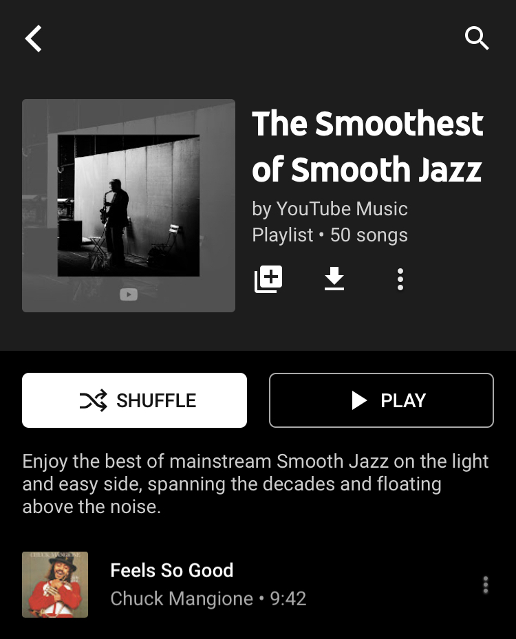 """Playlist titled """"the smoothest of smooth jazz"""""""