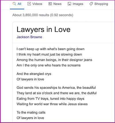"""screenshot of lyric, """"among the human beings in their designer jeans"""""""