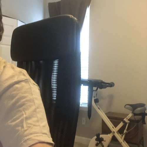 a stationary bike behind my office chair