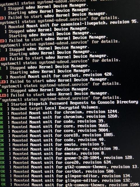 Screenshot of Ubuntu failing