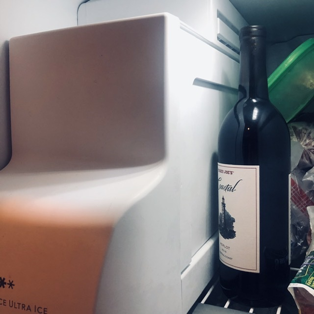 Bottle of wine in freezer