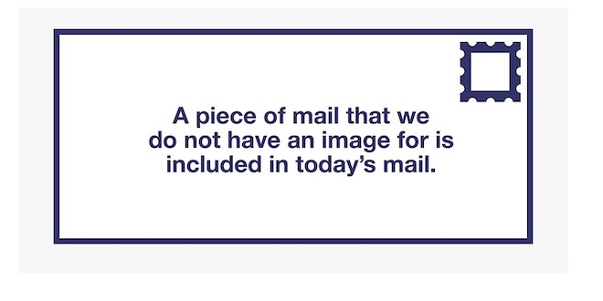 screenshot from post office email alerting me to mail they don't have an image of