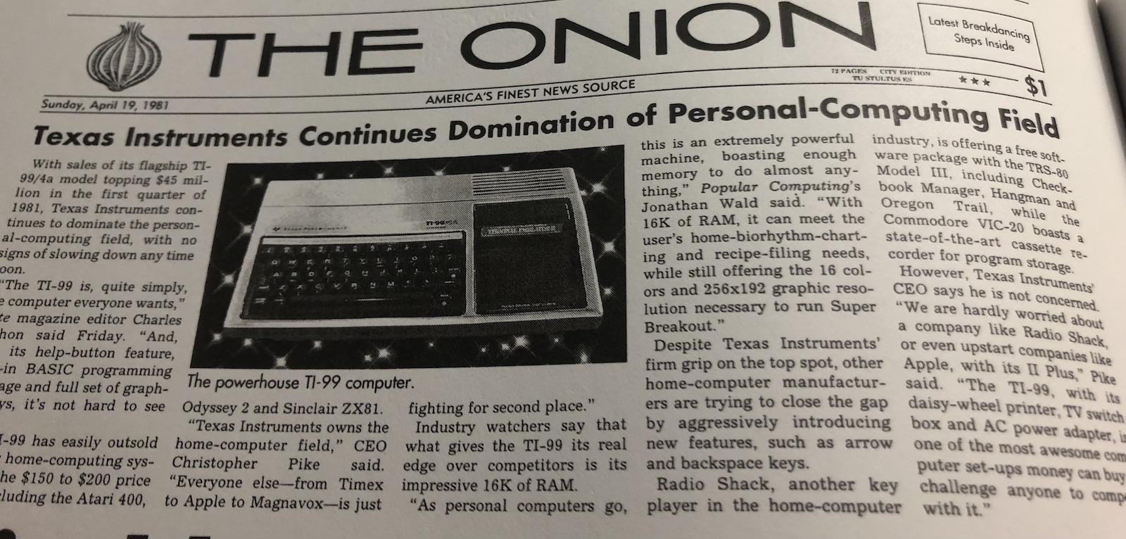 parody headline from the Onion praising TI computer
