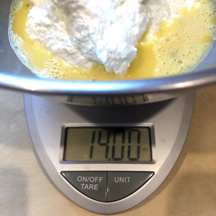 kitchen work-bowl on scale with exact measurement needed