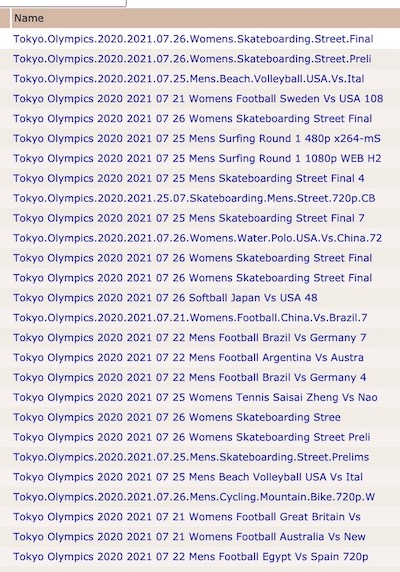 pirate bay listing of specific olympic events