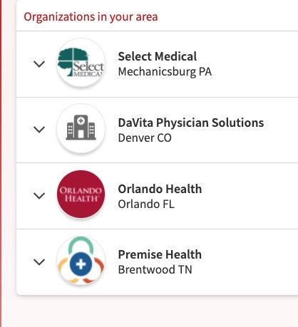 screenshot of health orgs alleged to be in my area but they include Colorado, Pennsylvania, Tennessee, and Florida