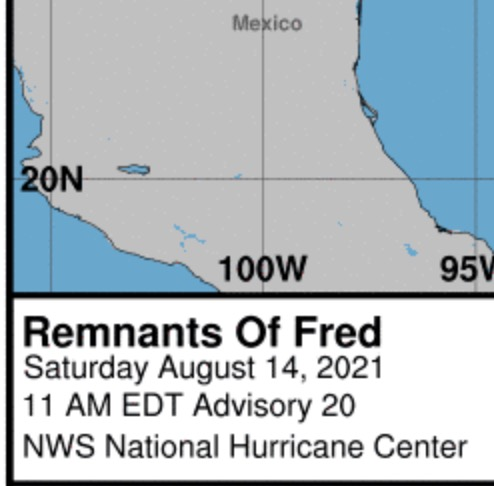 screenshot of NOAA report on remnants of storm named fred