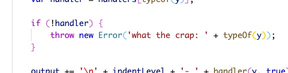 """screenshot of JS code that handles an error by displaying """"what the crap"""""""