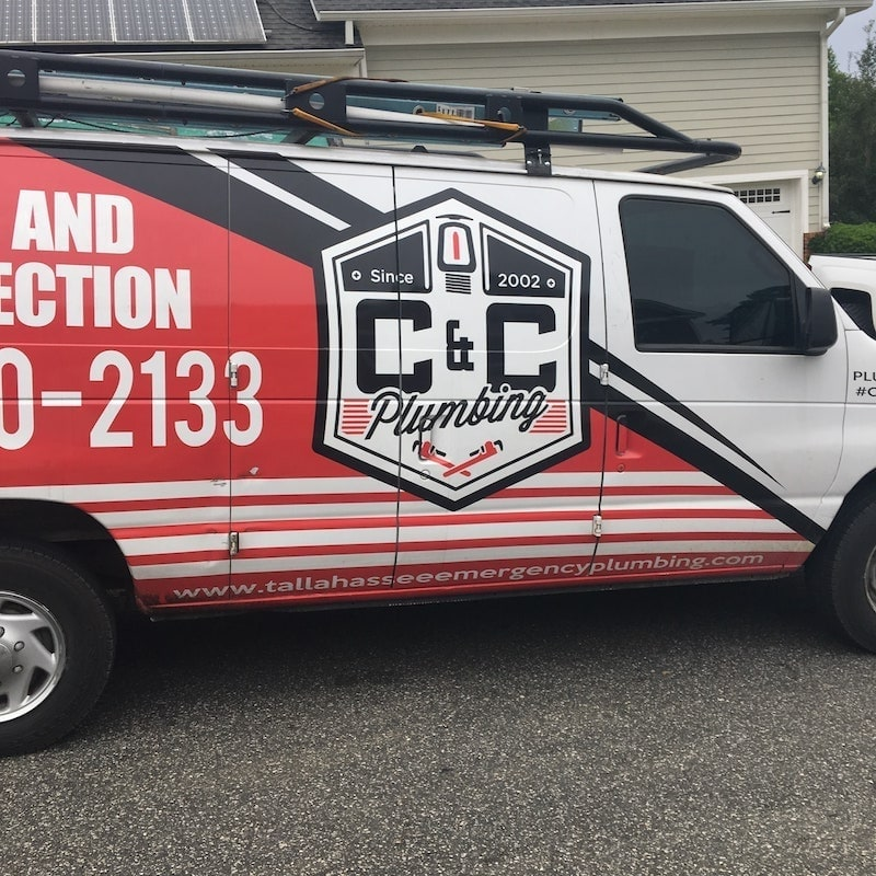 a plumbing truck with C & C on it