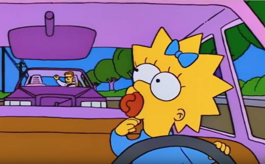 cartoon Maggie Simpson driving family car