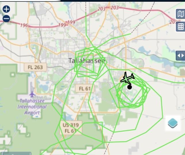 flightaware screenshot of C-130 looping around neighborhood